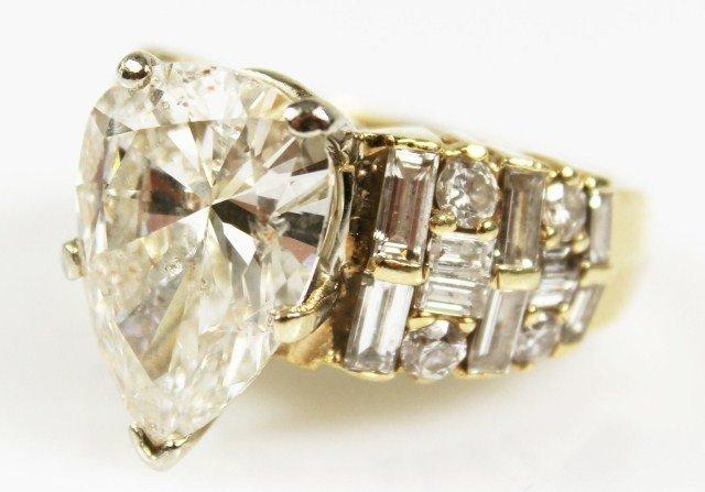 6.12 CARAT PEAR SHAPE 14K YELLOW GOLD DIAMOND RING