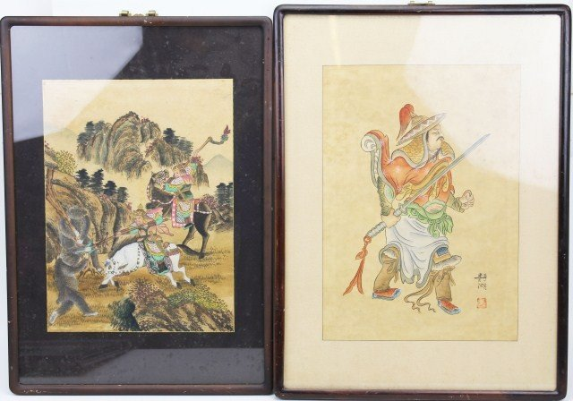 TWO FRAMED JAPANESE HAND COLORED SCROLL PAINTINGS
