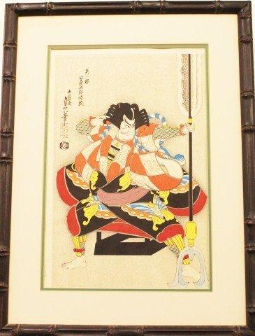JAPANESE WOODBLOCK PRINT OF A SAMURAI - YANONE