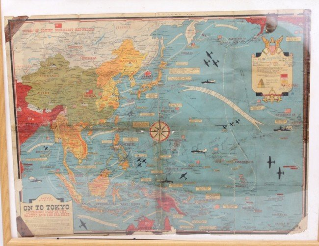 ON TO TOKYO WWII INVASION MAP OF THE PACIFIC