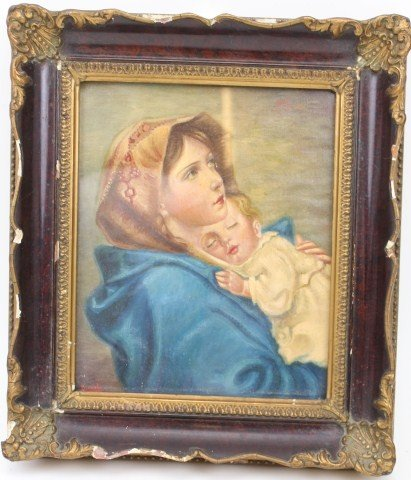 DUVAL - 19TH CENTURY OIL ON CANVAS GIRL & CHILD