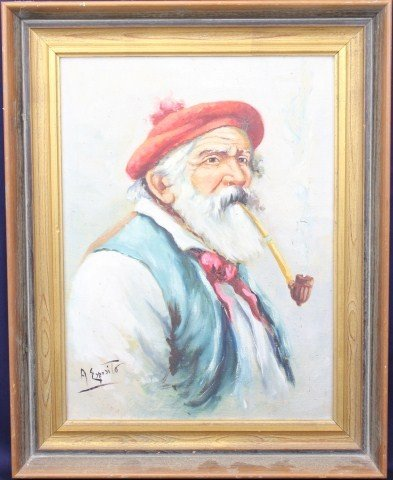 A ESPOSITO - OIL ON CANVAS OF AN OLD MAN