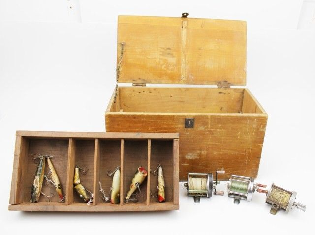 ANTIQUE WOODEN FISHING BOX REELS AND LURES
