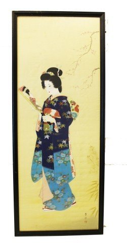 JAPANESE PAINTING SILK GEISHA GIRL