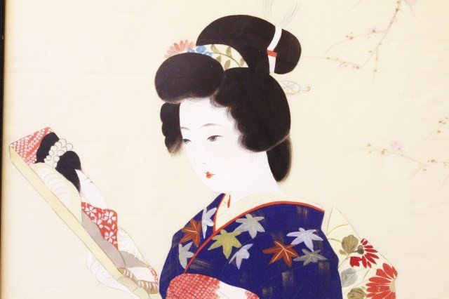 JAPANESE PAINTING SILK GEISHA GIRL - 3