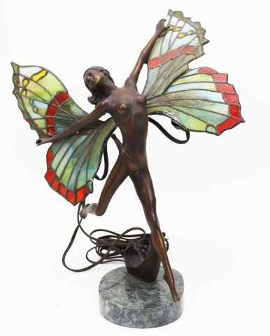 BRONZE FAIRY LAMP W/ STAINED GLASS WINGS SIGNED