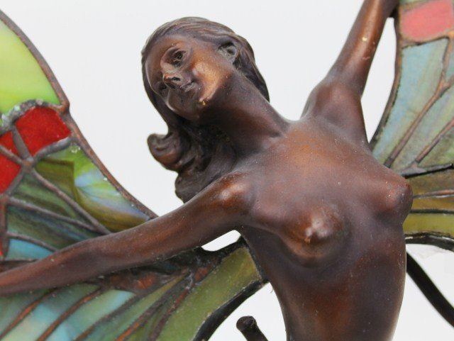 BRONZE FAIRY LAMP W/ STAINED GLASS WINGS SIGNED - 3