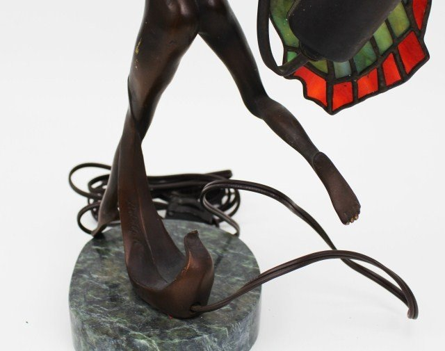 BRONZE FAIRY LAMP W/ STAINED GLASS WINGS SIGNED - 6