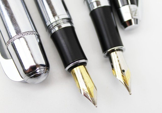 2 SZ LEQI PARIS FOUNTAIN PENS BLACK & SILVER - 5