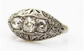 LADIES ANTIQUE FILIGREE PLATINUM DIAMOND RING