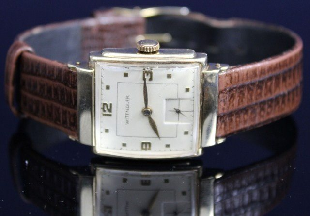 MENS WITTNAUER 10K GOLD CASE ART DECO DRESS WATCH