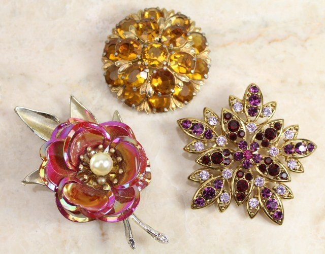 3 LARGER COSTUME JEWELRY BROOCHES