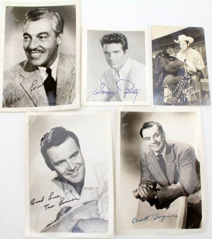 FOUR SIGNED 50s/60s PHOTOGRAPHS AND ONE POSTCARD