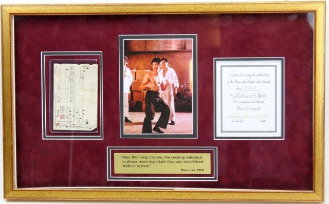 BRUCE LEE RECEIPT SIGNED & AUTHENTICATED IN PLAQUE