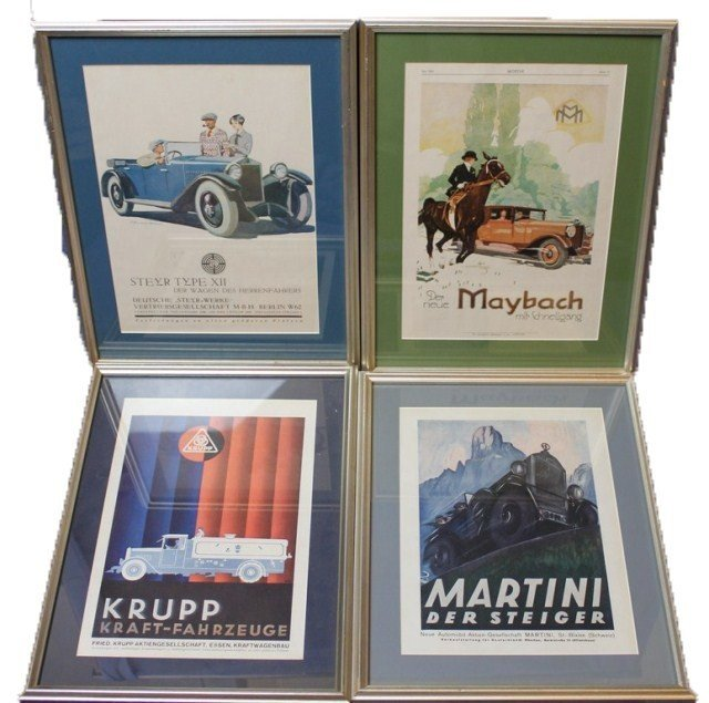 GROUP OF FOUR GERMAN AUTOMOBILE PRINTS
