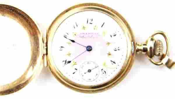 LADIES 14K GOLD WALTHAM POCKET WATCH HUNTERS CASE