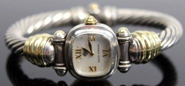 LADIES DAVID YURMAN SILVER AND GOLD CABLE WATCH