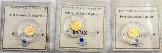 LOT 3 AMERICAN MINT 14K GOLD COIN MINI REPLICAS
