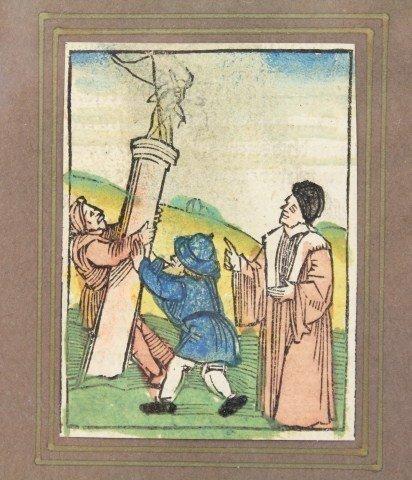 16TH CENTURY GERMAN WOOD CUT BLOCK PRINT WITH COA