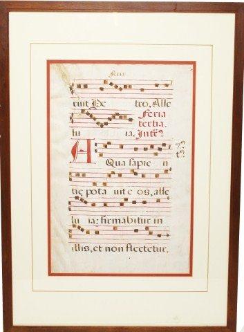 16TH CENTURY CATHOLIC HYMN MUSIC ON VELLUM