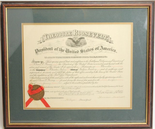 THEODORE ROOSEVELT SIGNED POSTMASTER DOCUMENT