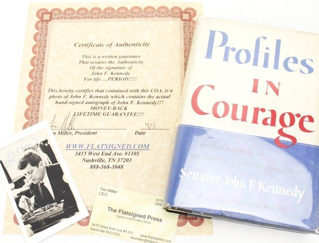 JOHN F. KENNEDY SIGNED CARD & PROFILES IN COURAGE