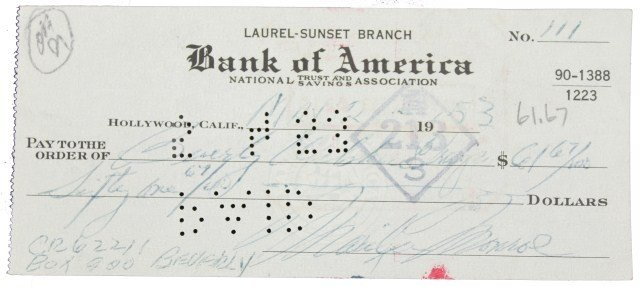 A BANK OF AMERICA CHECK SIGNED BY MARILYN MONROE - 1953