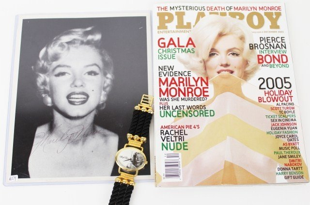 MARILYN MONROE SIGNED PHOTO WITH PLAYBOY AND WATCH
