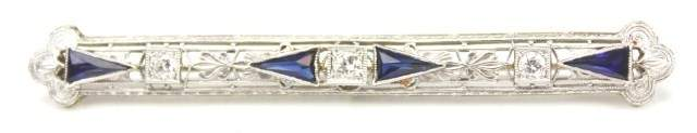 LADIES ART DECO 14K GOLD DIAMOND & SAPPHIRE BROOCH