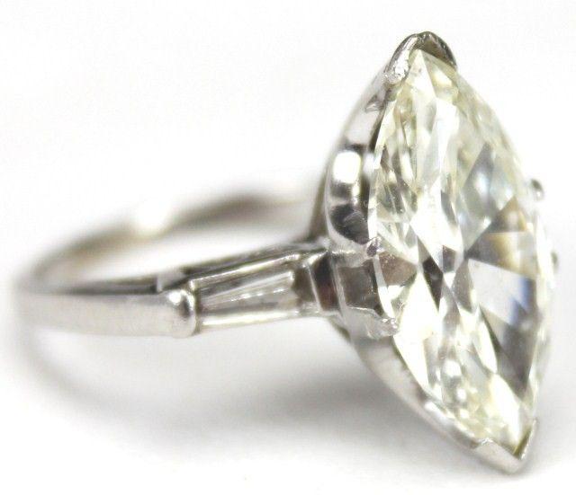 LADIES PLATINUM 5 CARAT MARQUISE DIAMOND RING