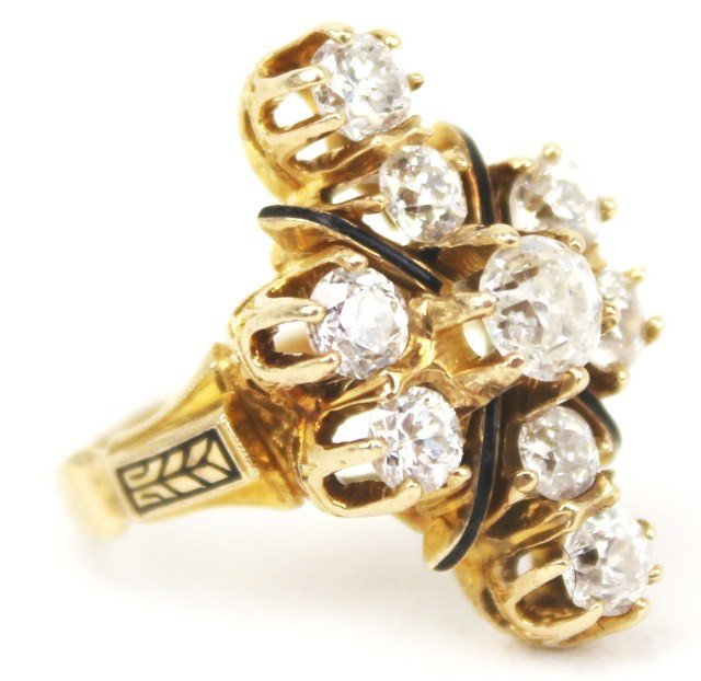 LADIES ANTIQUE 14K GOLD DIAMOND COCKTAIL RING