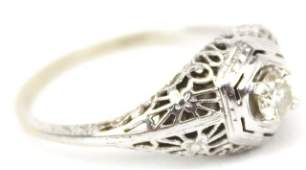 LADIES 14K ANTIQUE FILIGREE ART DECO DIAMOND RING