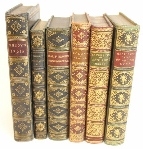 SIX 19TH-20TH CENTURY LEATHERBOUND BOOKS