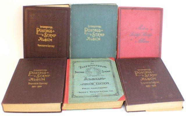 6 INTERNATIONAL STAMP BOOKS 19TH-20TH CENTURY