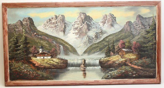 A. FISCHER - OIL PAINTING OF A MOUNTAIN SCENE