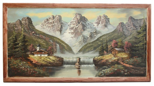 A. FISCHER - OIL PAINTING OF A MOUNTAIN SCENE - 2