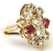 LADIES 14K DIAMOND & RUBY RING
