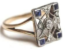 LADIES ANTIQUE 14K GOLD SAPPHIRE & DIAMOND RING