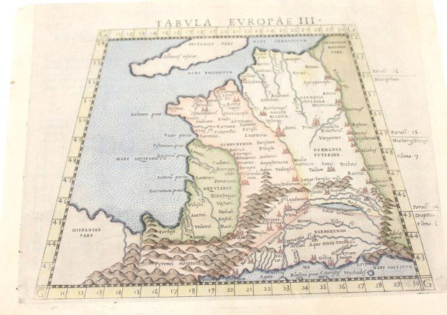 18TH CENTURY MAP OF FRANCE TABULA EUROPAE III