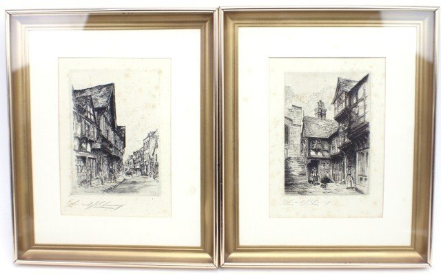 EDWARD CHERRY - ENGLISH TOWN SCENE ETCHINGS