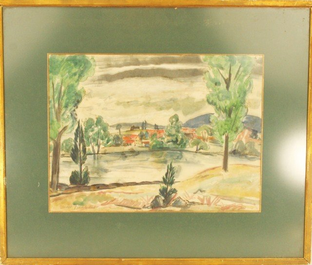 ERNEST FIENE - WATERCOLOR VILLAGE SCENE LANDSCAPE