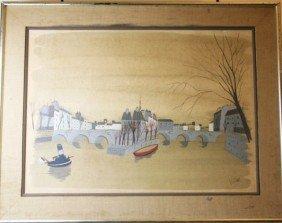 ANTOINE VILLARD - WATERCOLOR OF A RIVER SCENE