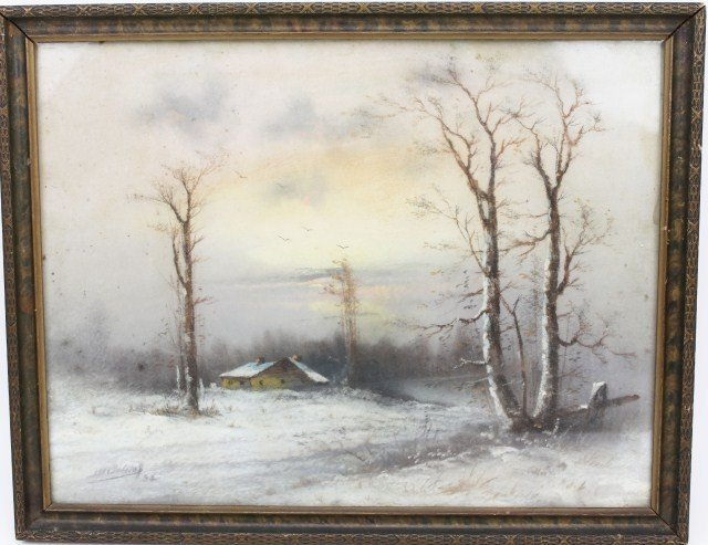 20TH CENTURY WINTER SCENE PASTEL - SIGNED
