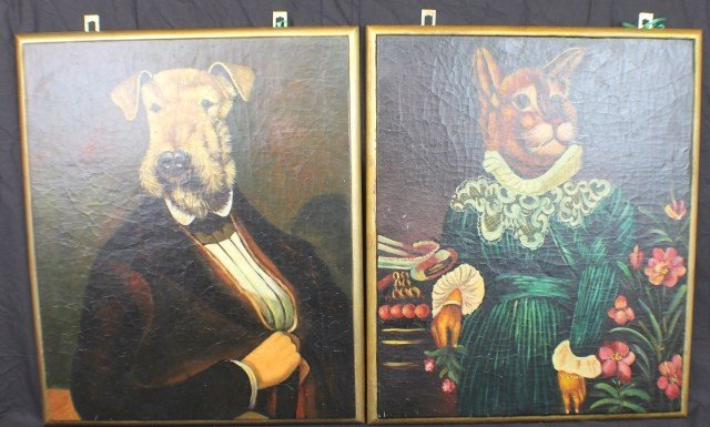 OIL ON BOARD PAINTINGS OF DOG & CAT IN HUMAN FORM