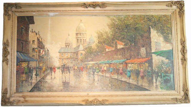 20TH CENTURY OIL ON BOARD OF A PARISIAN SCENE