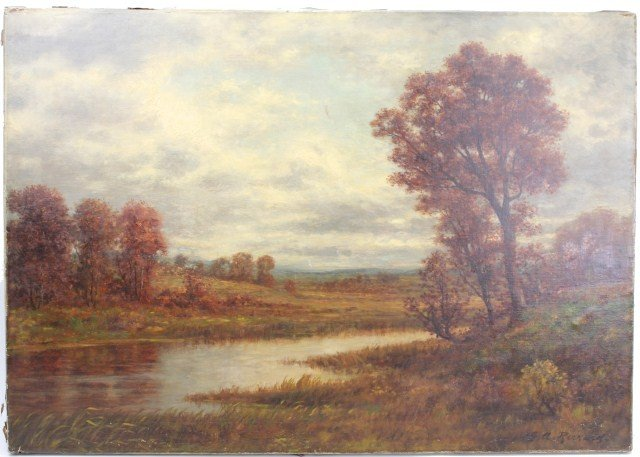 GARDNER ARNOLD RECKARD – OIL ON CANVAS OF A MARSH
