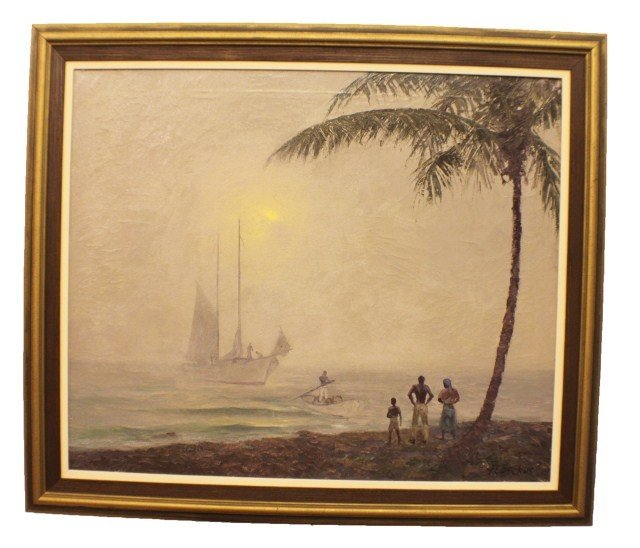 "A.E. BACKUS - PAINTING ""SUN UP"" OIL ON CANVAS"