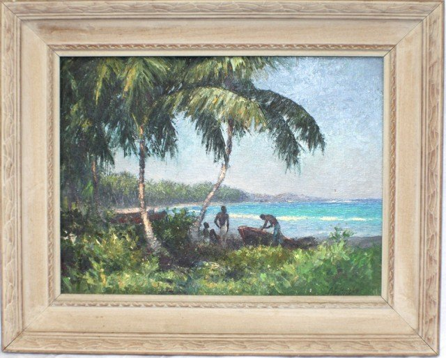 "A.E. BACKUS JAMAICAN LANDSCAPE ""FISHING BOAT"""