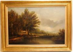 CHARLES P. PITT - 19TH C. OIL ON CANVAS PAINTING