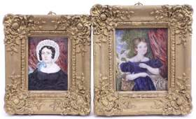 TWO 19TH CENTURY MINIATURE PAINTINGS ON IVORY